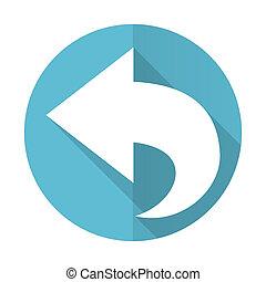 znak, błękitny, ikona, wstecz, płaski, strzała