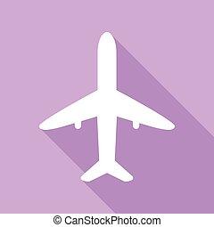 znak, biały, illustration., tło., ikona, cień, samolot, ...