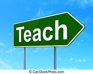 znak, concept:, tło, uczyć, wykształcenie, droga