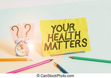 znak, dobry, niezależnie, alarm, ważny, umieszczony, matters., mini, zdrowie, fotografia, rzeczy, zegar, tekst, pastel, najbardziej, inny, nachylany, rozmiar, konceptualny, stacjonarny, backdrop., pokaz, twój