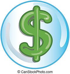 znak, dolar, ikona