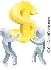 znak, dolar, ludzie