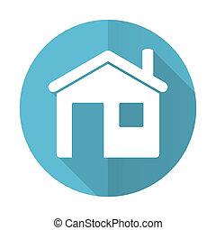 znak, dom, błękitny, ikona, płaski, dom