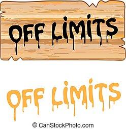 znak, drewno, limity, od, barwiony