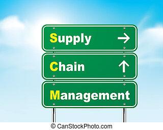 znak, droga, łańcuch, kierownictwo, 3d, dostarczać