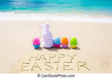 "znak, ""happy, easter"", z, królik, i, kolor, jaja, na plaży"