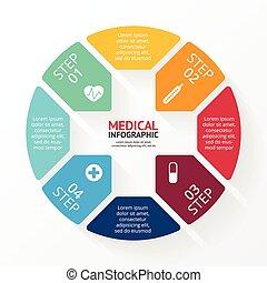 znak, healthcare, infographic., koło, plus, medyczny