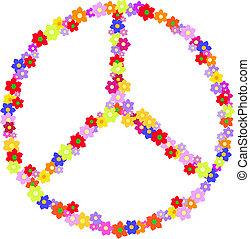 znak, hippy, wektor, robiony, kwiat