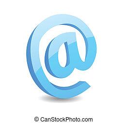 znak, ilustracja, wektor, email, 3d