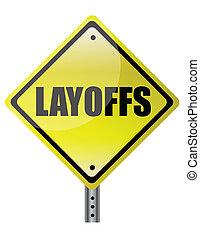 znak, layoffs, ostrzeżenie, żółty