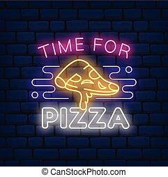 znak, neon, pizza, restauracja