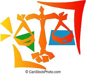 znak, o, justice., měřítko