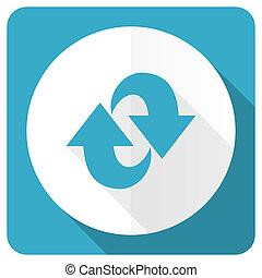 znak, odświeżyć, błękitny, ruch obrotowy, ikona, płaski