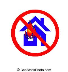 znak, ogień bezpieczeństwo, na białym, tło