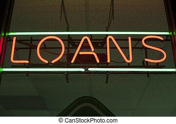 znak, pożyczki, neon