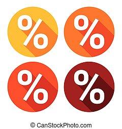 znak, procent, barwny, ikona