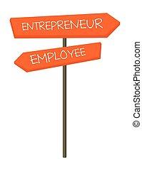 znak, przedsiębiorca, wektor, pracownik, rysunek, droga