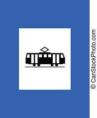znak, tramwaj, handel, stacja