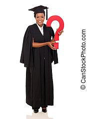 znak zapytania, kolegium, samiczy afrykanin, absolwent