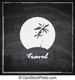 znak, zwrotnik, tablica, podróż, ilustracja, wyspa, tło., rocznik wina, pojęcie