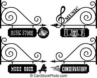 znaki, ulica, muzykować pokój, twórczy