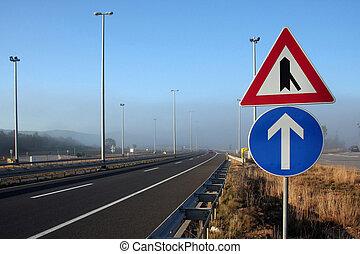 znaki, w, mglisty, motorway
