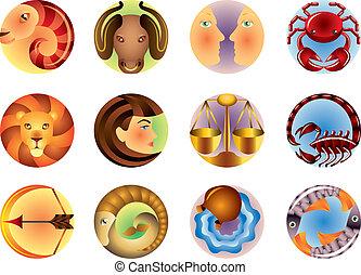 znaki, zodiak, wektor, komplet, okrążony