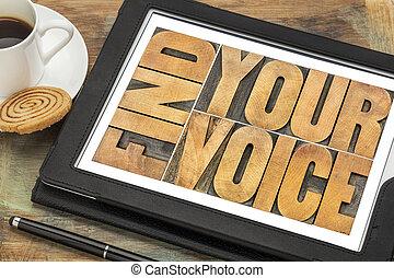 znaleźć, twój, głos, pojęcie