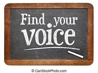 znaleźć, twój, głos, tablica, znak