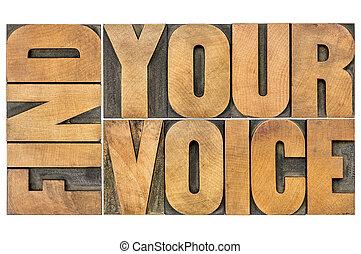 znaleźć, twój, głos, twórczość, pojęcie, -, odizolowany, słowo, abstrakcyjny, w, letterpress, drewno, typ