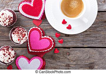znejmilejší den, zrnková káva, a, cupcakes, text dělat mezery