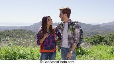 znowu, śmiech, para, młody, hiking