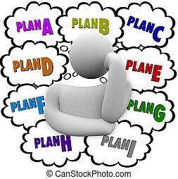 znowu, c, b, różny, próba, plan, strategie, zmiana