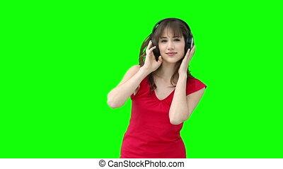 znowu, kobieta, muzykować słuchanie, kołysząc