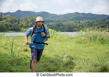 znowu, na wolnym powietrzu, wyścigi, hiking, człowiek