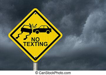 znowu, nie, texting, napędowy, znak