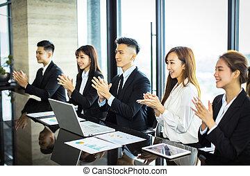 znowu, oklaskując, spotkanie, businesspeople