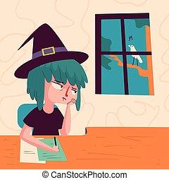 znudzony, czarownica, wyglądając okna
