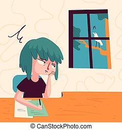 znudzony, dziewczyna, wyglądając okna
