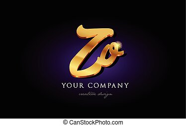 zo z o 3d gold golden alphabet letter metal logo icon design handwritten typography