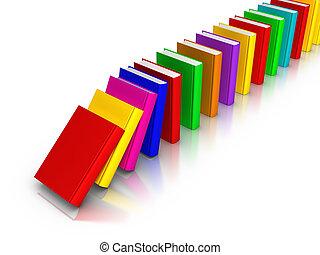 zoals, domino, boekjes , het vallen, kleurrijke, roeien