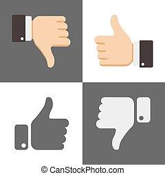 zoals, iconen, beduimelt omhoog, dons, sociaal, afkeer, netwerk