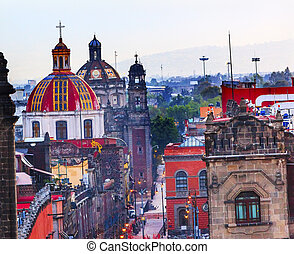 Zocalo Churches Domes Mexico City - Zocalo Chruches Painted...