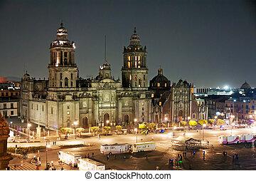 zocao, mexikó, éjszaka, város