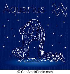 zodíaco, acuario, copos de nieve, señal