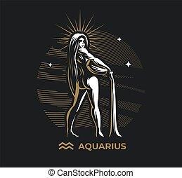 zodíaco, aquarius., señal