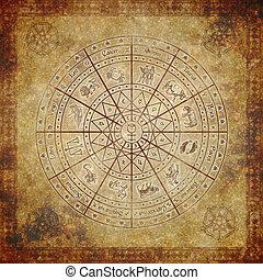 zodíaco, círculo, en, muy, viejo, papel