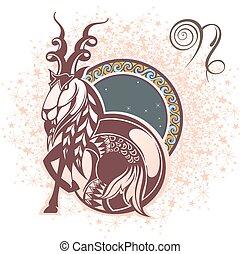zodíaco, capricorn., señal