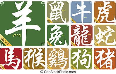 zodíaco, chino, año, señales