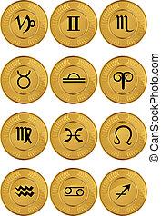 zodíaco, coins, oro